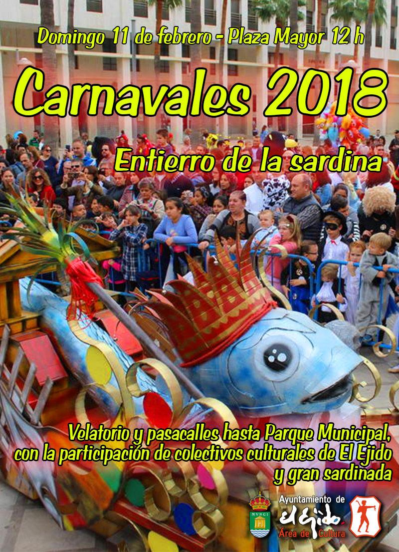 """Carnaval 2018 """"Entierro de la sardina"""" – Domingo 11 de febrero, Plaza Mayor 12 h"""