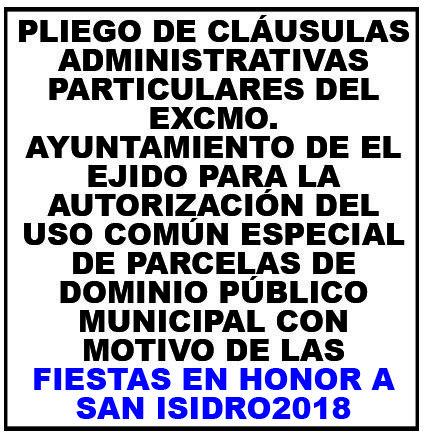 Pliego de condiciones de adjudicación de espacios San Isidro 2018