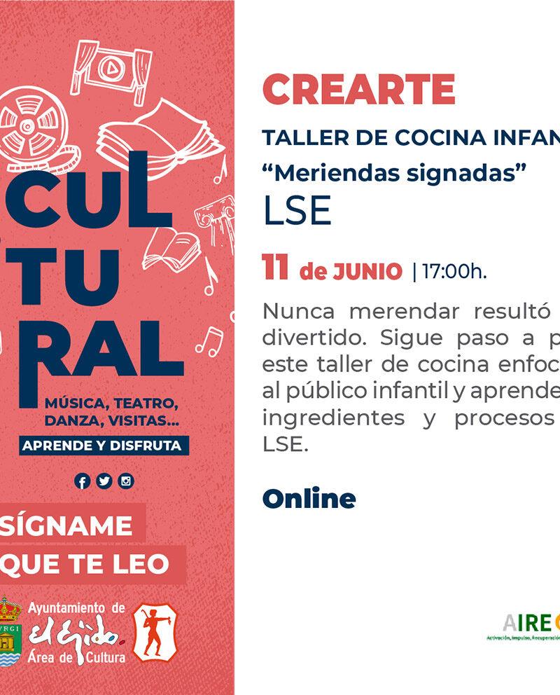 Crearte «Taller de cocina infantil» 11 de junio – El Ejido Cultural 2021