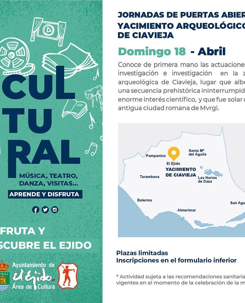 Jornadas de puertas abiertas Yacimiento Ciavieja 18 de abril – El Ejido Cultural 2021