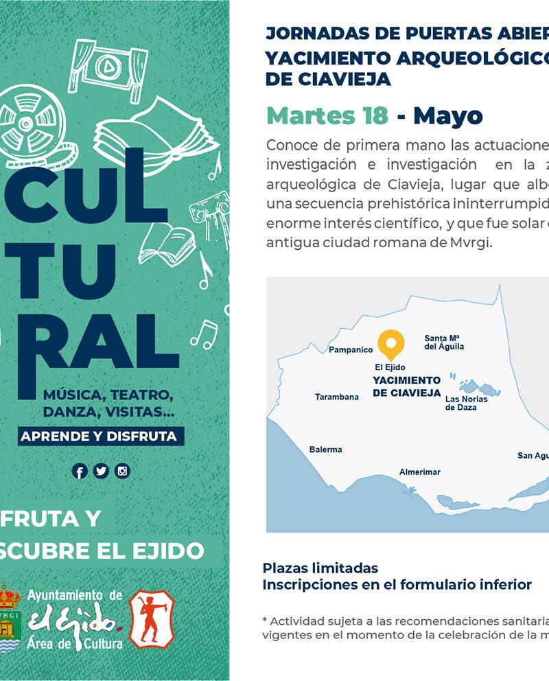Jornada de puertas abiertas Yacimiento Ciavieja 18 de mayo – El Ejido Cultural 2021